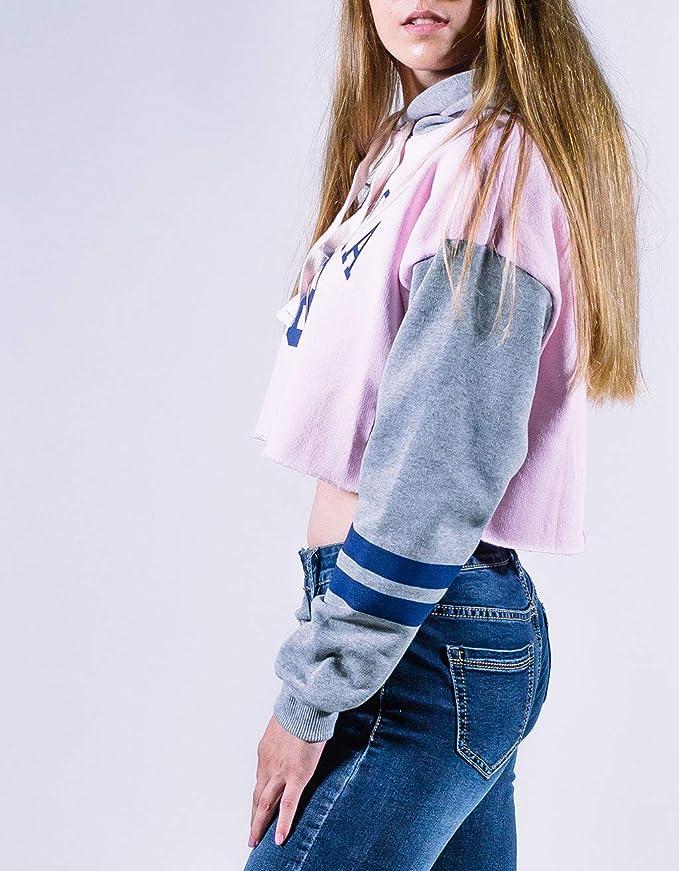 Con Moda De Mujer Chica Rosa Para Nebraska Única Talla Capucha Sudadera Uissos SMpzVU
