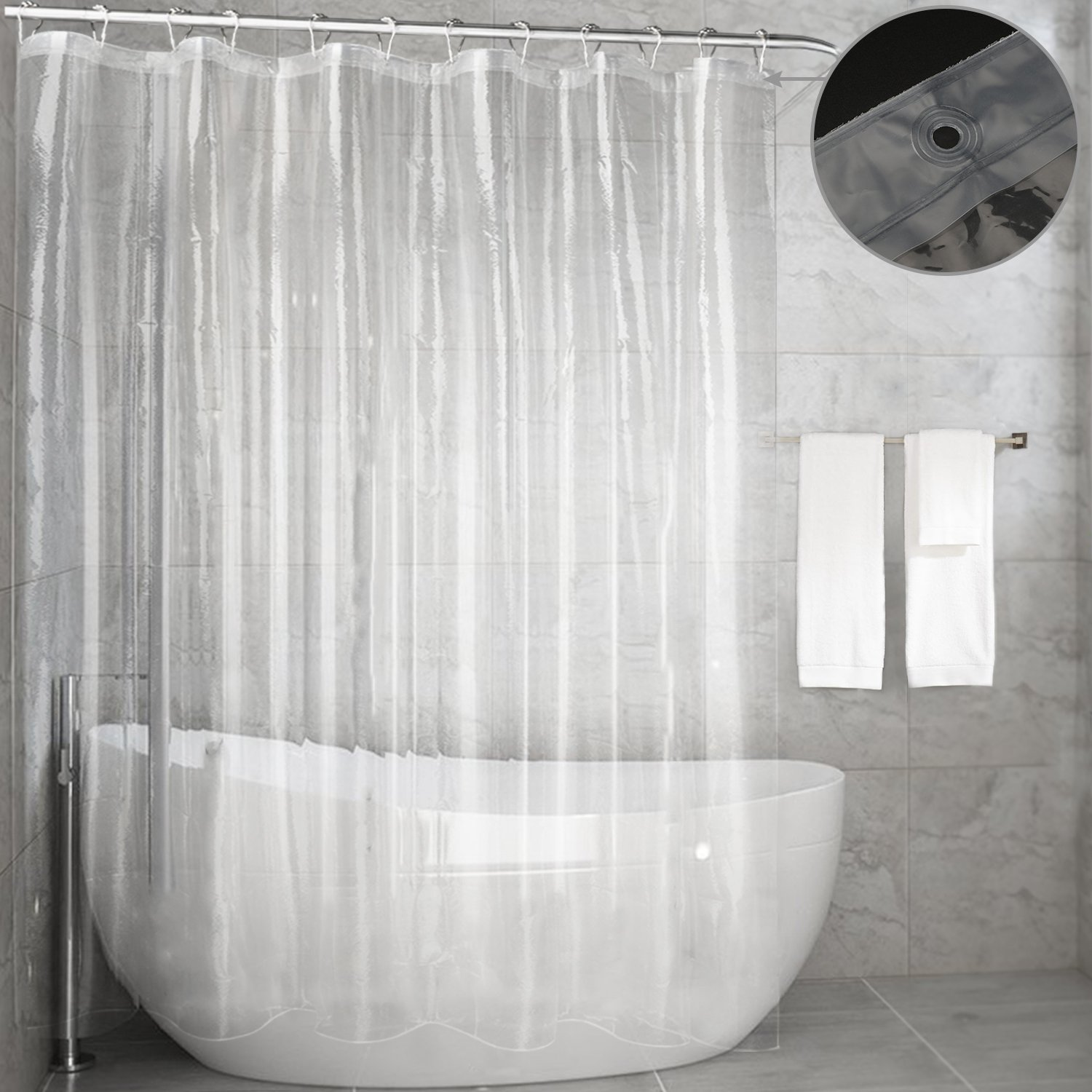 Clear Shower Curtain LinerFeagar MoldMildew Resistant Waterproof Anti Bacterial 72x72 Inch Eco Friendly PVC Free Non ToxicOdorless Bathroom For