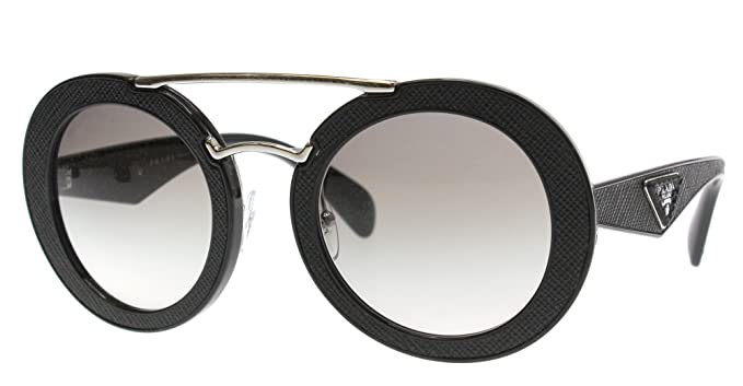 91804f830329 Image Unavailable. Image not available for. Color  Prada PR15SS 1AB0A7 Black  Ornate Round Sunglasses Lens Category ...