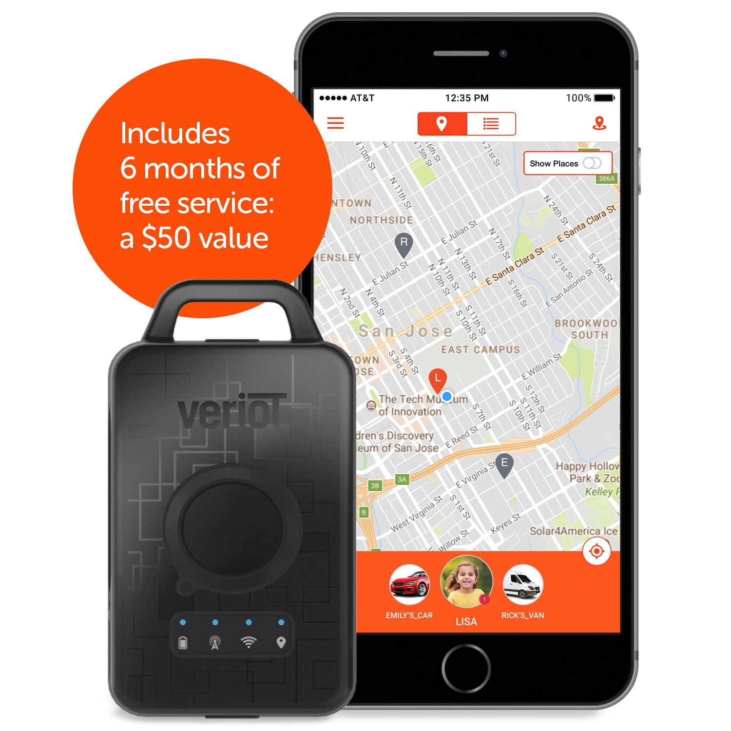 Veriot Venture Smart GPS Tracking Device. Best for Kids, Valuables, Employees and Fleets. AT&T 3G Coverage! Real Time locations, 6 MO FREE SERVICE LOWEST TOTAL COST OF OWNERSHIP. (1 Pack)