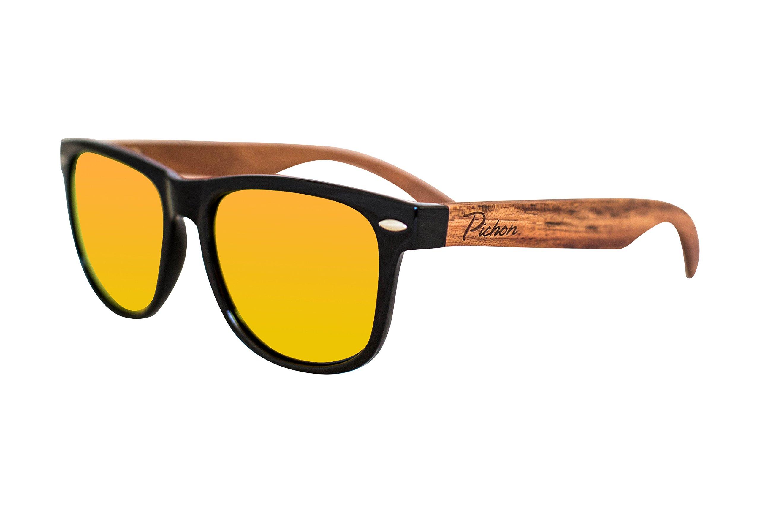 e33c51dea30 Pichon Designs 100% Bamboo Wood Wayfarer Sunglasses