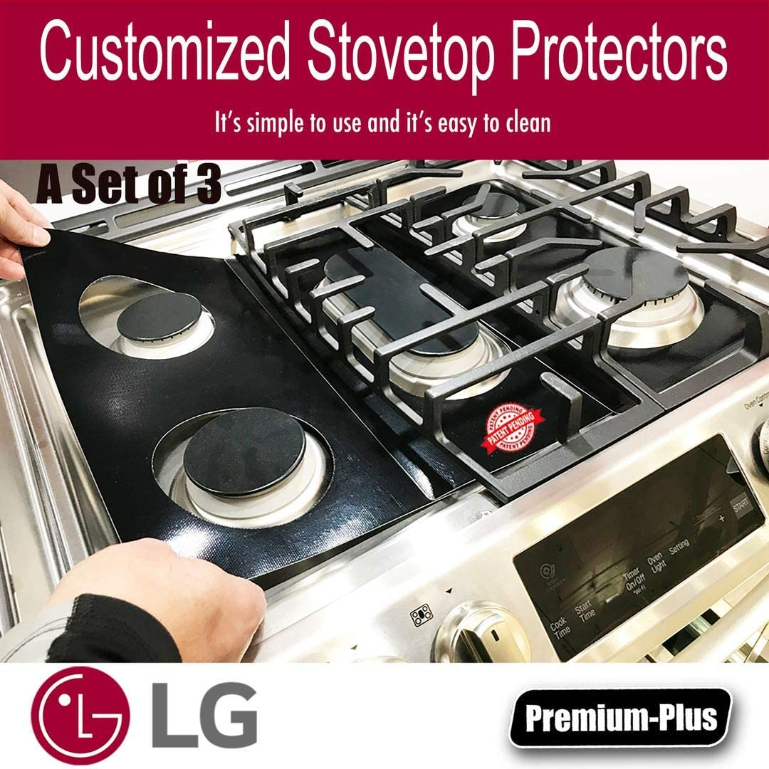 LG Stove Protector Liners - Stove Top Protector for LG Gas Ranges - Customized - Easy Cleaning Stove Liners for LG Model LRG4115ST