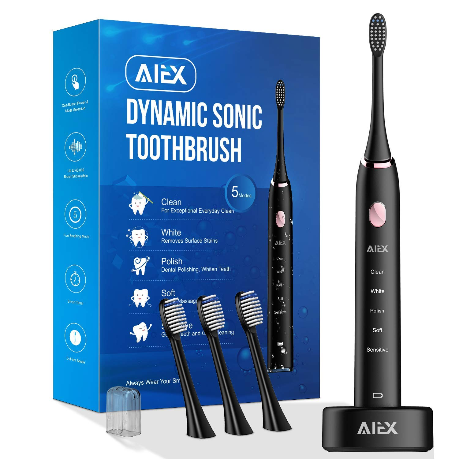 AIEX Sonic Electric Toothbrush with 3 Replacement Heads Rechargeable Electronic Toothbrush with Holder Black Travel Toothbrush with 5 Modes IPX7 Waterproof USB Wireless Charging Smart Timer Travel Bag