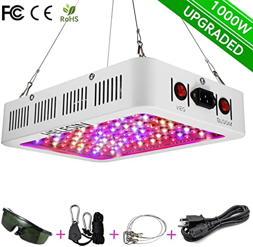 HELESIN 1000w LED Grow Light with Bloom Veg Switch and Daisy Chained Design,Full Spectrum Led Grow Lamps for Indoor Greenhouse Hydroponic Plants and Flowers