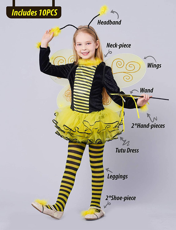 Girls Bumblebee Costume Kit Tutu Wings Headband Fancy Dress Kids Book Day Outfit
