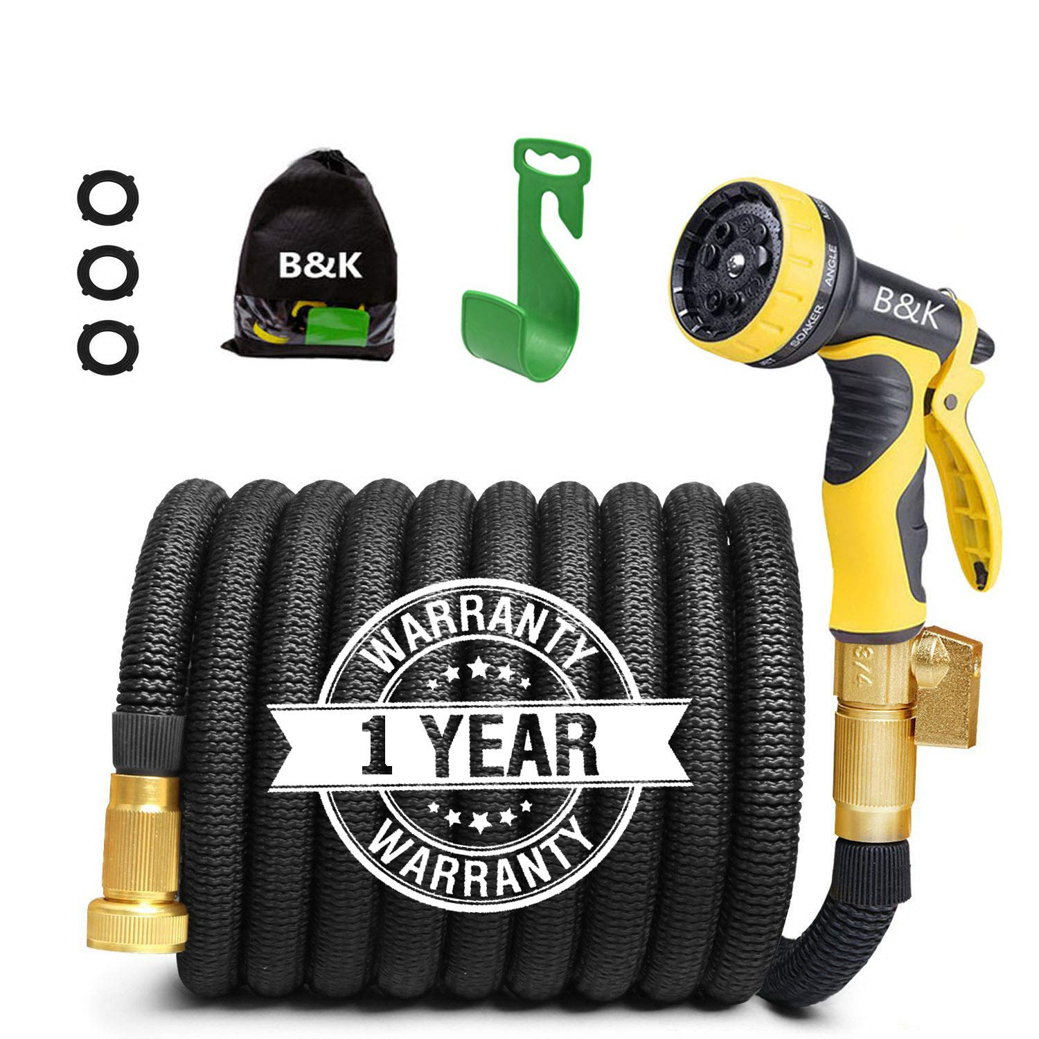 Garden Hose, Lightweight Expandable Water Hose Set, Outdoor Expanding Flexible Double Latex Core Yard Hose with 3/4 Solid Brass Fitting, 9 Functions Spray Nozzle and Hanger (50ft)