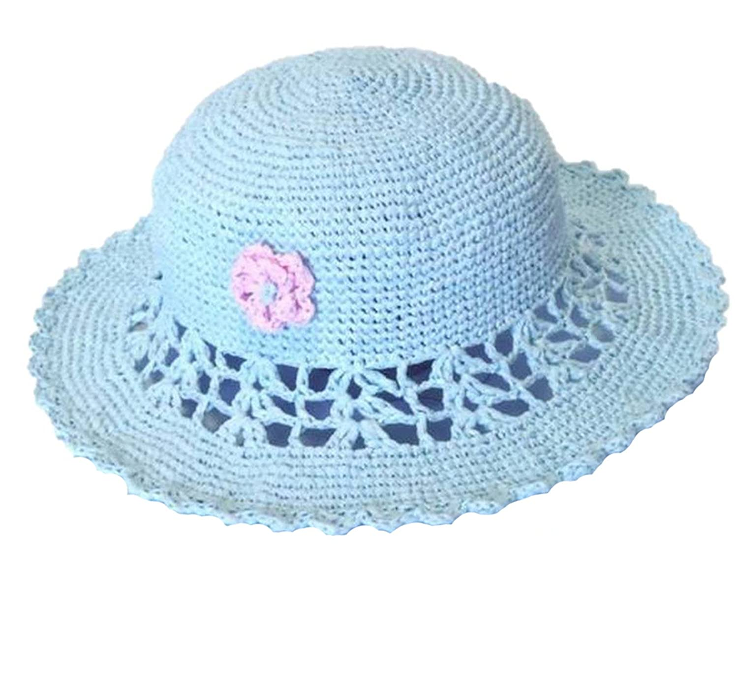 Limin 100/% Hand-crochet Kids Raffia Summer Beach Sun Hat
