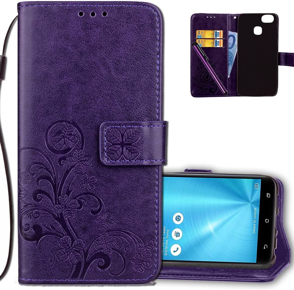 Asus ZenFone 3 Zoom Wallet Case Leather COTDINFORCA Premium PU Embossed Design Magnetic Closure Protective Cover with Card Slots for Asus ZenFone 3 Zoom Luck Clover Purple ZE553KL
