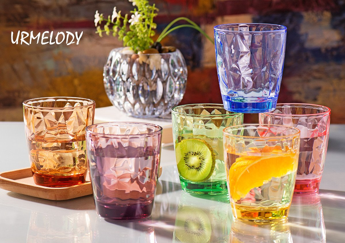 Drinking Glasses Set Acrylic Glassware for Kids 11oz Colored Plastic Tumblers Cups Picnic Water Glasses Unbreakable Juice Drinkware for Camping Restaurant Beach Party BPA Free Dishwasher Safe by Urmelody (Image #2)