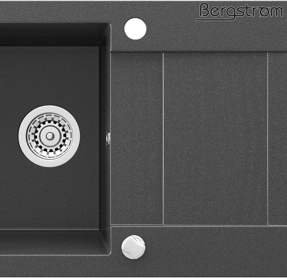 Bergstr/öm Granite Kitchen Sink 750 x 430cm Kitchen Built-in Surface Sink Basin Rotary excenter Siphon