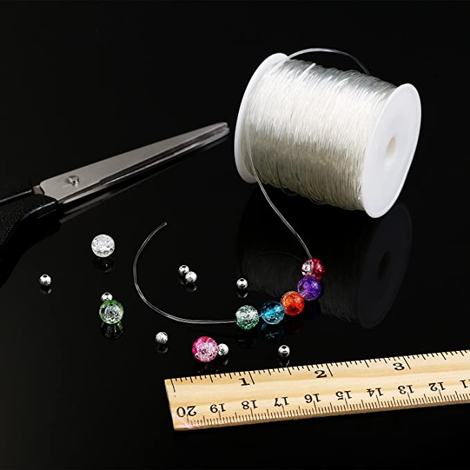 Elastic Clear Beading Thread Stretch Polyester String Cord for Jewelry Making and Crafts 1 mm, 80 Meters