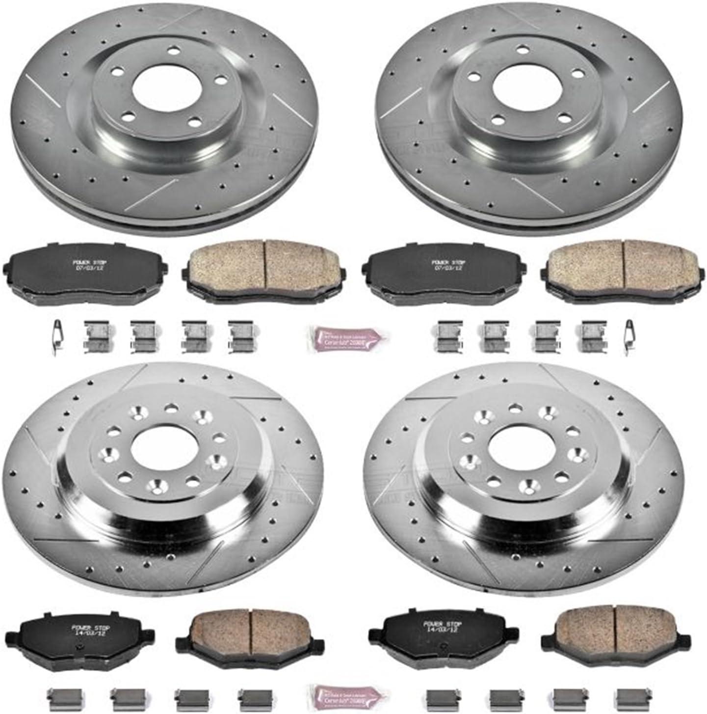 Front /& Rear All 4 Drilled /& Slotted Brake Rotors /& Ceramic Brake Pads Evo 8 9