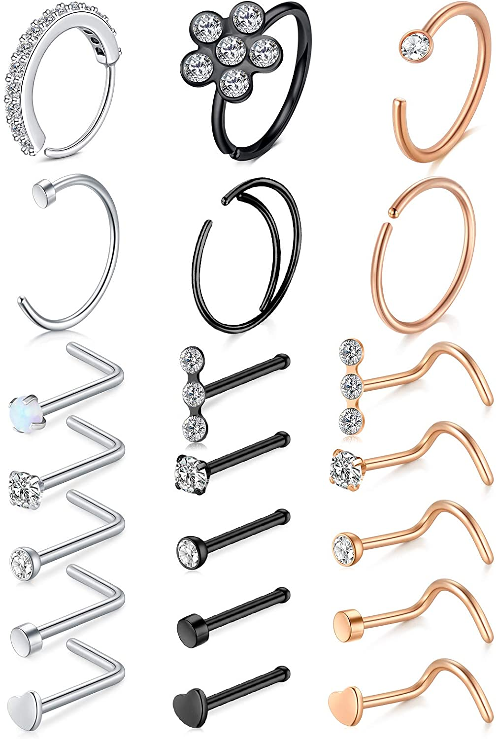 Longita Nose Rings Hoops 18g 20g Septum Ring L Shaped Nose Studs Screw Bone Surgical Stainless Steel C Shape Moon Double Hoop High Nostril Piercing Jewelry Pack Silver Rose Gold Black