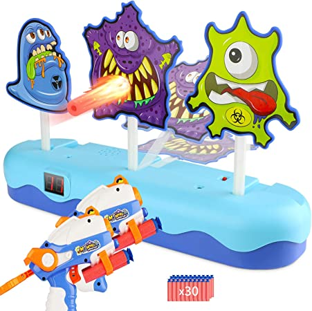 EKOOS Shooting Game Toy 2 Guns Set for Kids Monster Shooting Targets, Electronic Scoring Auto Reset with 3 Digital Targets, Ideal Gift for Kids Boys & Girls Aged 3 - Compatible with Nerf Guns