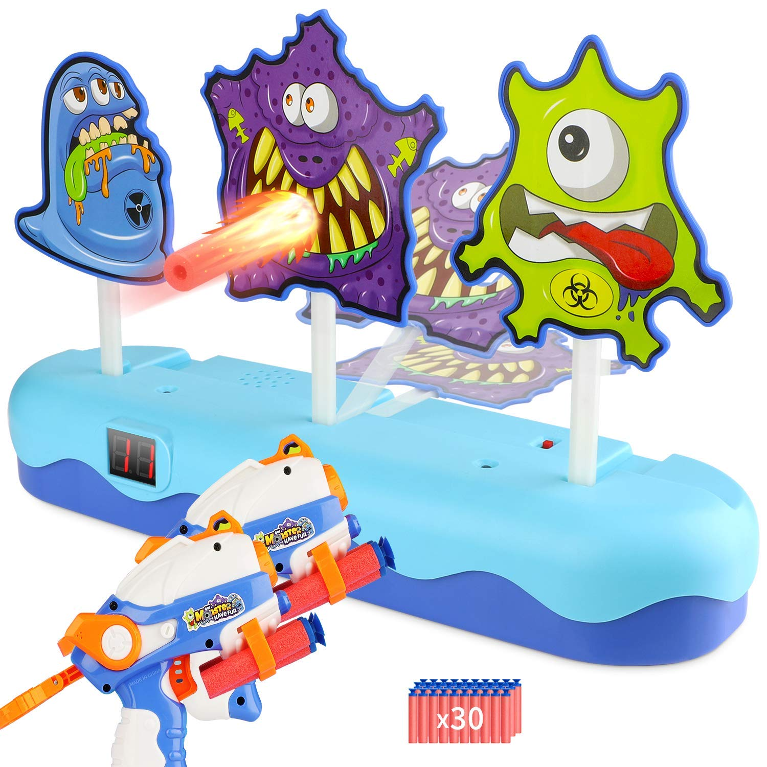 EKOOS Shooting Game Toy Gun Set for Kids Monster Shooting Target Electronic Scoring Auto Reset Digital Targets, Ideal Gift for Kids Boys & Girls Aged 3 - Compatible with Nerf Guns