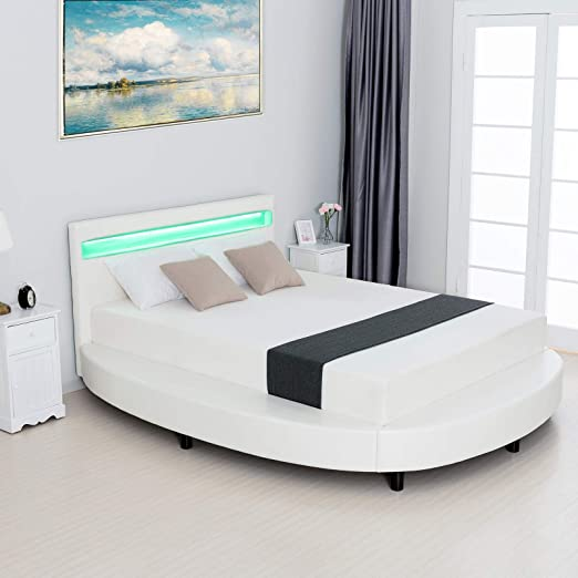 Amazon Com Lagrima Round Led Bed With 8 Color Changing Led Light Headboard Modern Upholstered Faux Leather Bed Frame 2 8 Inch Solid Wooden Slats Support White Queen Size Kitchen Dining