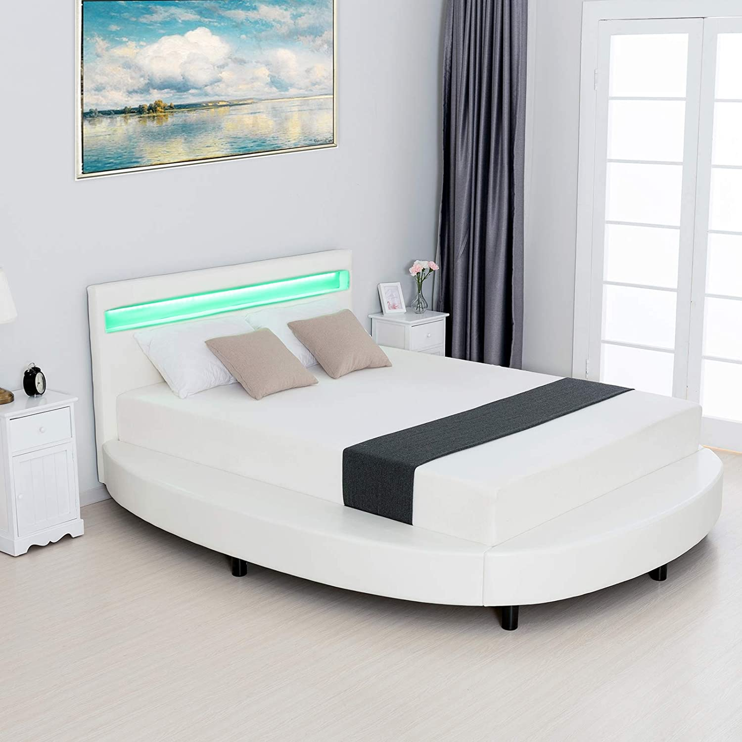 LAGRIMA Modern Upholstered Round Platform Bed with LED Light Headboard, Faux Leather Bed Frame with 2.8-Inch Solid Wooden Slat Support, White, Queen Size