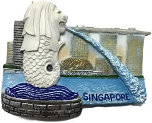 Merlion, SINGAPORE Souvenir Collection 3D Fridge Refrigerator Magnet Hand Made Resin