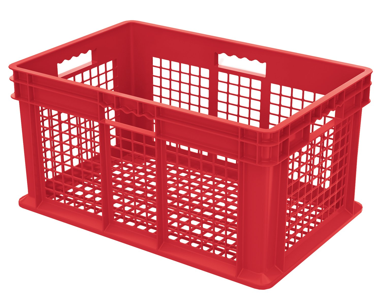 Akro-Mils 37612 24-Inch by 16-Inch by 12-Inch Straight Wall Container Plastic Tote with Mesh Sides and Mesh Base, Case of 3, Red AKRPJ 37612RED CS