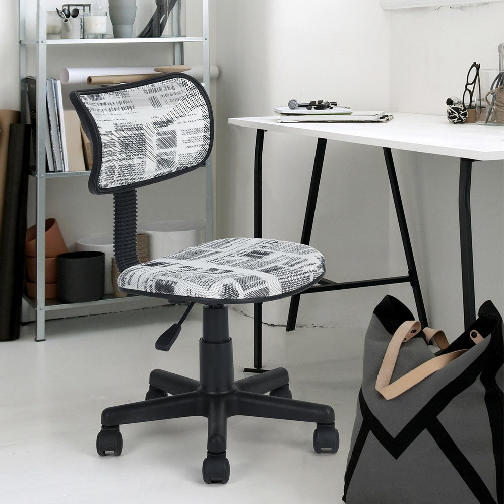 regolabile in rete di plastica Stampa CARTOON sedia girevole da ufficio con schienale intermedio Homy Casa senza braccioli