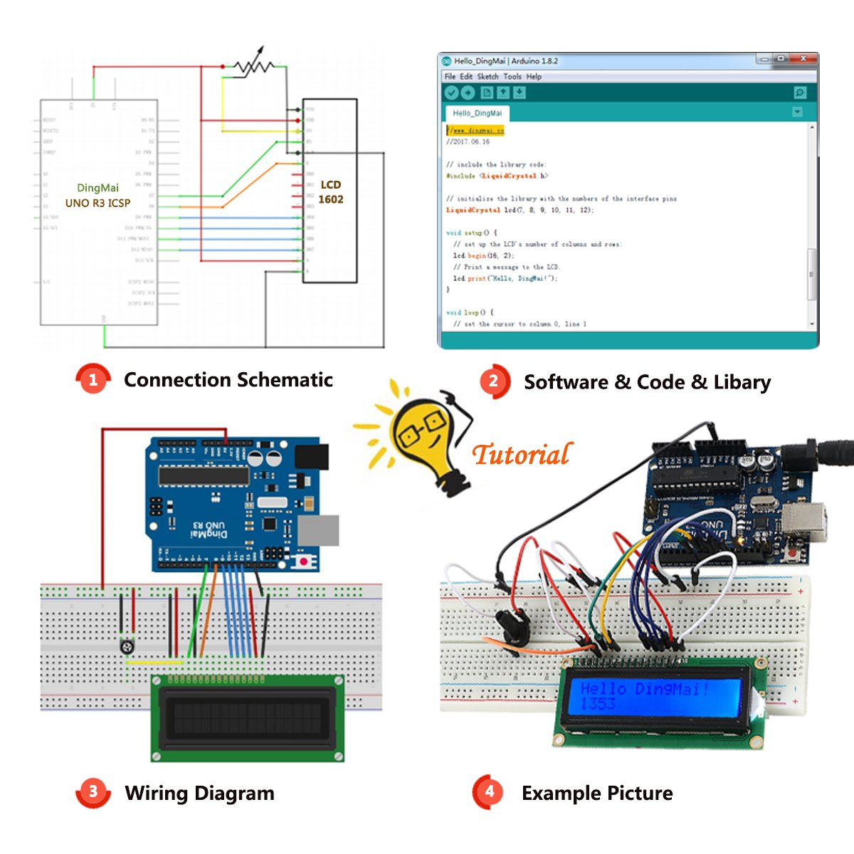 Dingmai Uno R3 Super Starter Kit With Multilingual Ci 65 Central Locking Interface Wiring Diagram Comprehensive Tutorials And Professional Support For Arduino Project 49 Items