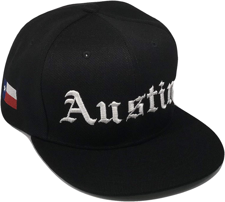 The Hat Shoppe Austin Texas Old English Flag Flat Bill Snapback Baseball Cap (One Size, Black)