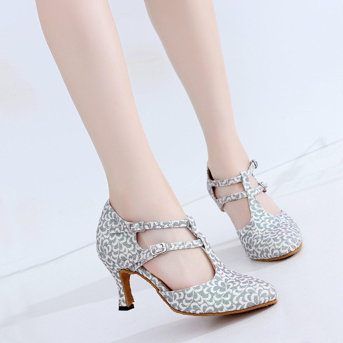 Minishion Womens T-Strap Closed Toe Floral Glitter Latin Ballroom Salsa Dancing Shoes Wedding Evening Prom Pumps