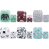 ALVABABY Cloth Diaper Pocket Washable Adjustable Reuseable Boy Girl Nappies 6 Pack With12 Inserts Gift Sets 6DM16