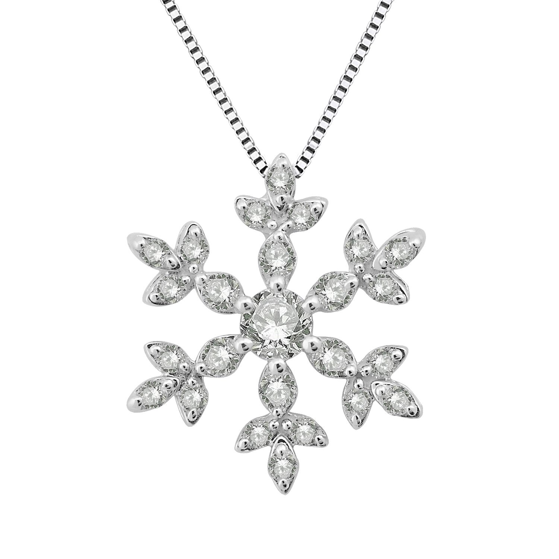 14k White Gold Snowflake Diamond Pendant Necklace (0.30 Carat)