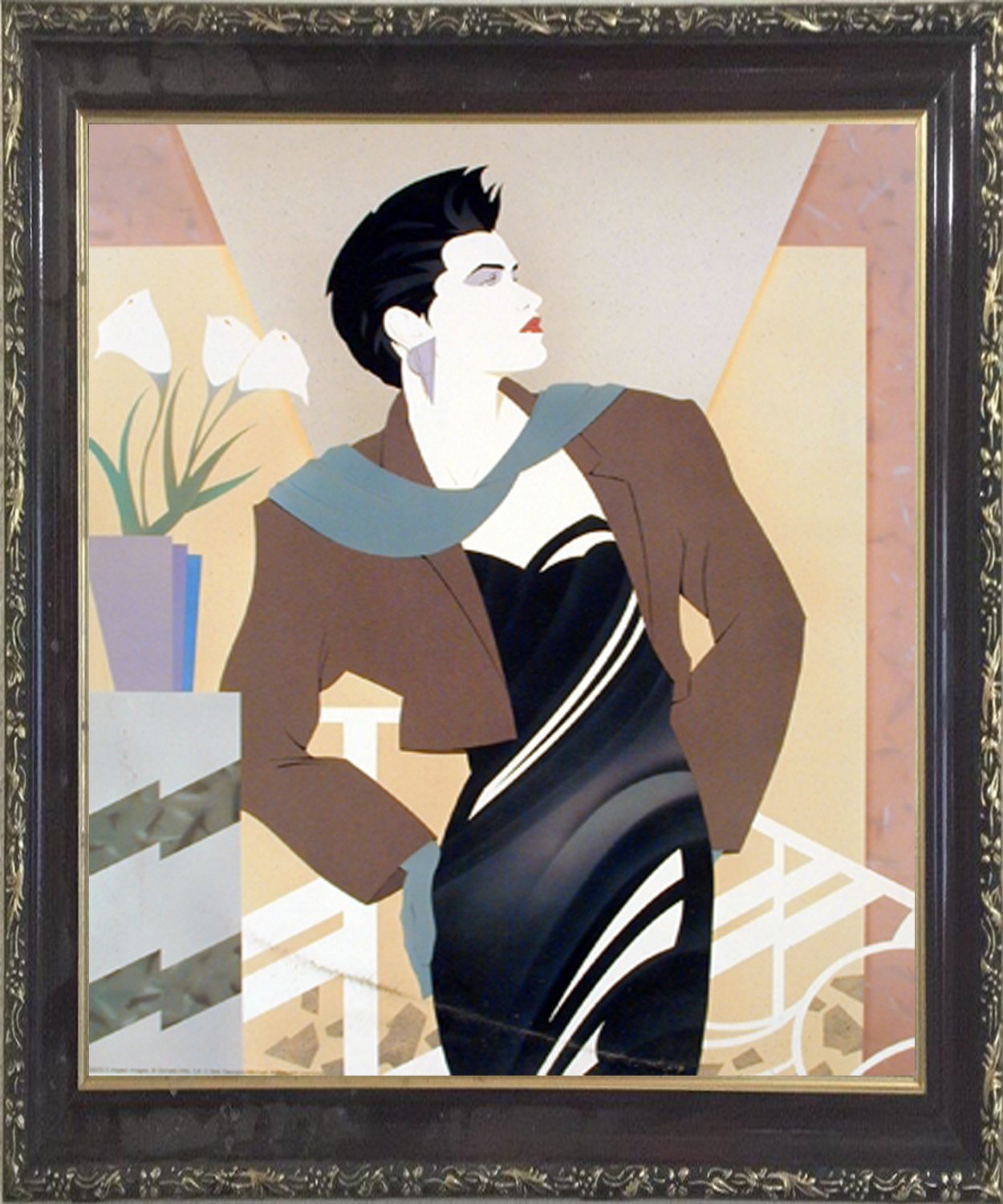 Impact Posters Gallery Vogue Fashion Lady with Cala Lilies Flower Wall Decor Mahogany Framed Picture Art Print by Impact Posters Gallery