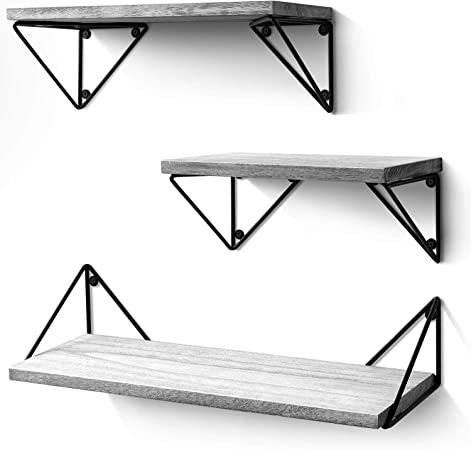 Rustic Wood Wall Shelves Klvied Floating Shelves Wall Mounted Set of 4 Storage Shelves for Bedroom Living Room Carbonized Black Bathroom Kitchen Carbonized Black Office and More