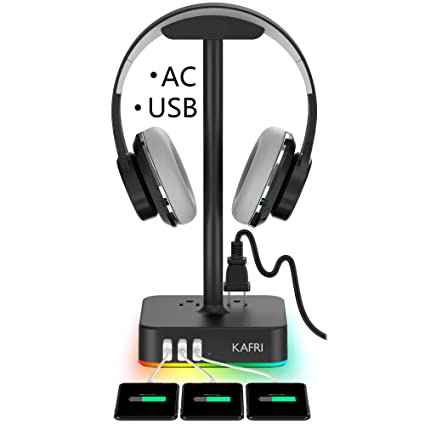 RGB Headphone Stand with USB Charger KAFRI Desk Gaming Headset Holder Hanger Rack with 3 USB Charging Port and 2 Outlet - Suitable for Gamer Desktop ...