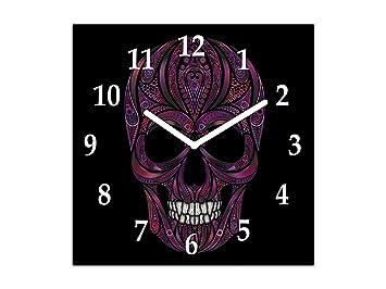 Reloj de Pared de Vidrio - Cuadro de Cristal con Reloj - Reloj Decorativo Pared en múltiples diseños; TG12 Serie Tribal: Cráneo Humano de Flores: Amazon.es: ...