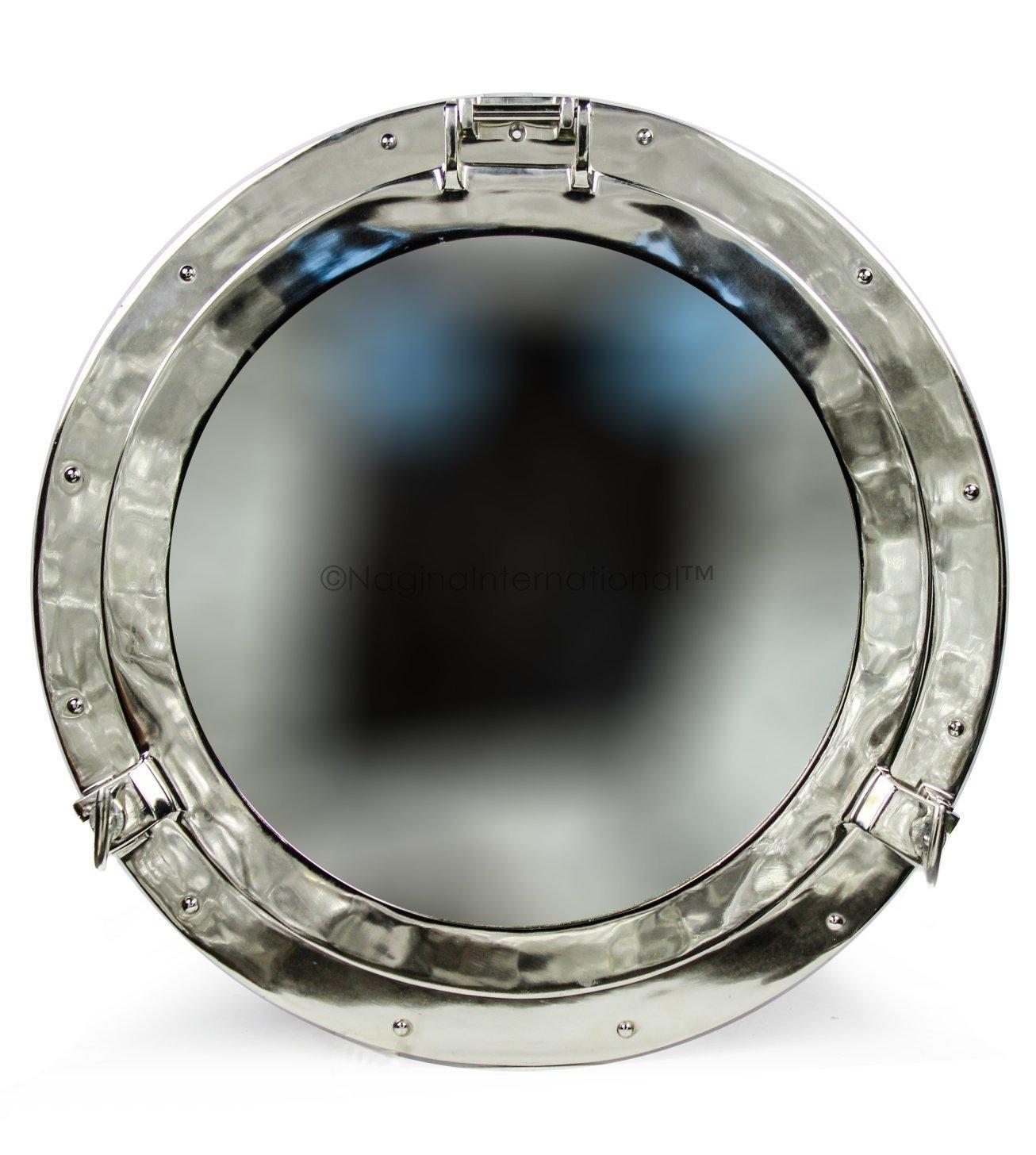 Large Beautiful Silver Metal Mirror | Nickel Aluminum Porthole Wall Hanging Mirror | Nautical Pirate's Antique Decor | Maritime Gifts | Nagina International (18 Inches)