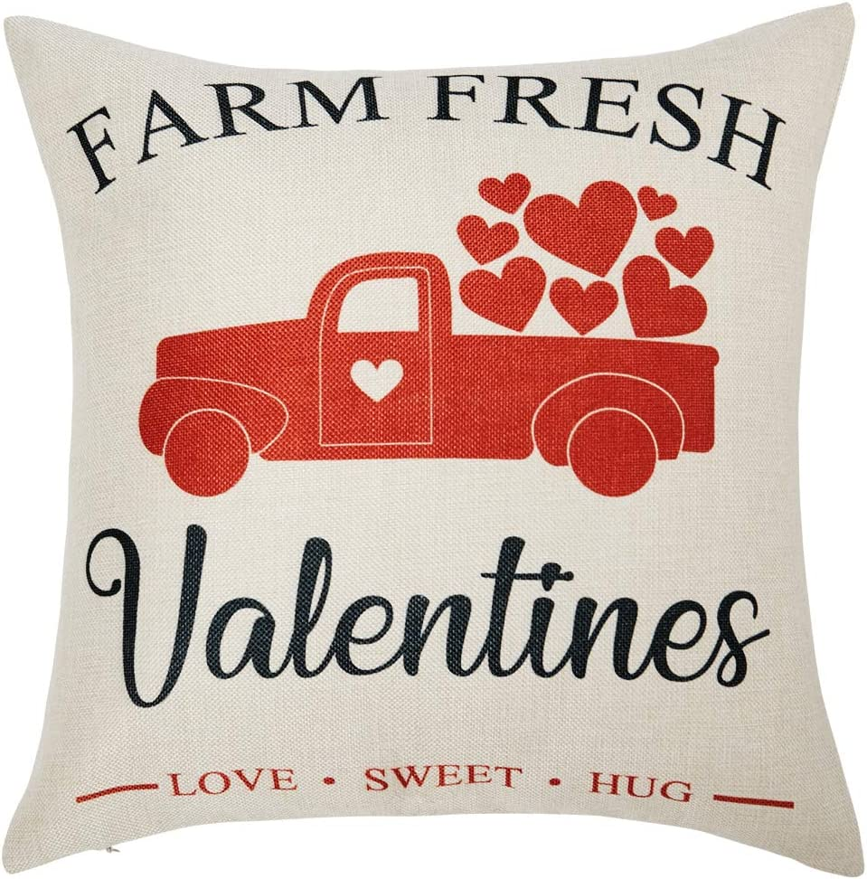 Anickal Valentines Pillow Covers 18x18 Inch for Valentine's Day Decorations Farm Fresh Valentines Truck Decorative Throw Pillow Covers Linen Cusion Cover for Home Farmhouse Decor