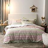 Merryfeel Seersucke Duvet Cover Set, 100% Cotton Woven Seersucker Stripe Duvet Cover with 2 Pillowshams, 3 Pieces…