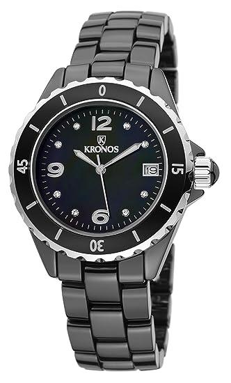 Kronos - Ceramic Black 854.8.52 - Reloj de señora de Cuarzo, Brazalete de cerámica, Color Esfera: Negra: Amazon.es: Relojes