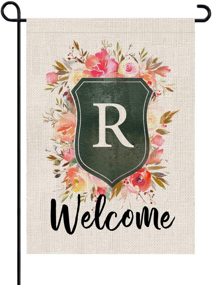 PARTY BUZZ Rose and Shield Monogram Letter R Burlap Garden Flag Initial, Double Sided, 12.5 x 18 Inch, Small Mini Outdoor Yard Floral Flag