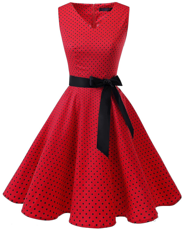 TALLA XXL. Bridesmay Vestido de Cóctel Fiesta Mujer Verano Años 50 Vintage Rockabilly Sin Mangas Pin Up Red Small Black Dot XXL