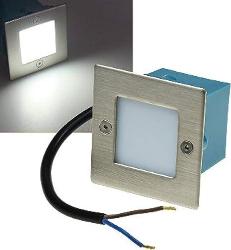 ChiliTec - Foco de pared led, acero, 230 V, 1,5 W, IP54, cuadrado, luz para escalera: Amazon.es: Iluminación