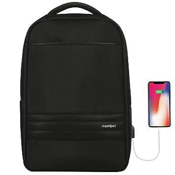 Aspen Mochila Impermeable hasta 15,6 Pulgadas Mochila para portátil Multiusos Daypacks con Puerto de Carga USB AS-B71 20-25L (Negro): Amazon.es: Informática