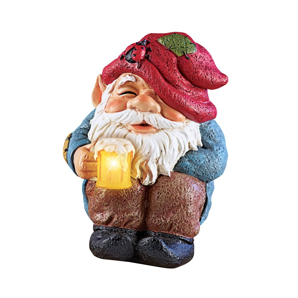 Collections Etc Happy Hour Gnome Garden Statue with Solar Lighted Beer Mug Decoration