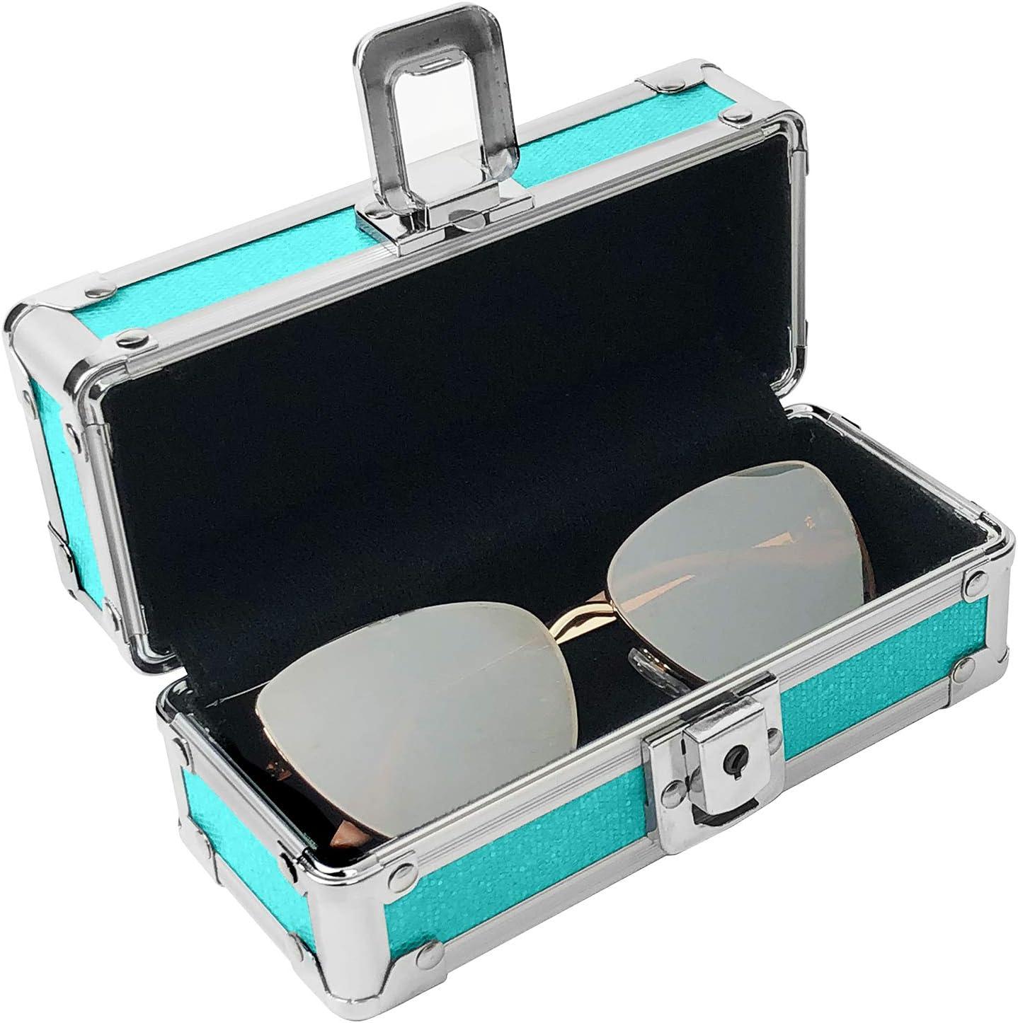 Blue//Teal Sparkles Vaultz Locking Sunglass Case
