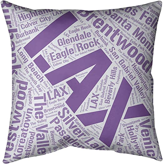 Artverse Rand Cites Los Angeles California Districts Word Art Purple Pillow W Removable Insert Spun Polyester Home Kitchen