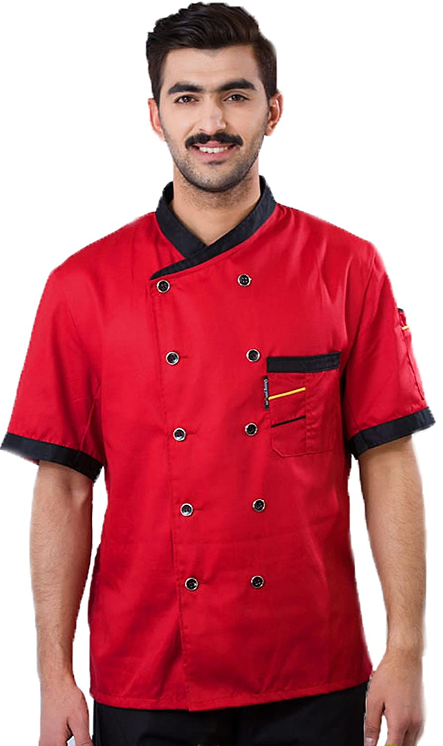 3colors Chef Clothing Hotel Restaurant Chefs Work Clothes Short Sleeve Chef Jack (Black, Red, White)