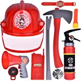 Fireman Toys, Kids Firefighter Costume, Pretend Play Accessories for Toddlers and Boys, 10 pcs