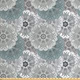 Grey Decor Fabric by the Yard by Ambesonne, Arabesque Tile Mandala with Oriental Touch Eastern Style Indian Ethnic Spiritual Motif, Decorative Fabric for Upholstery and Home Accents, Blue