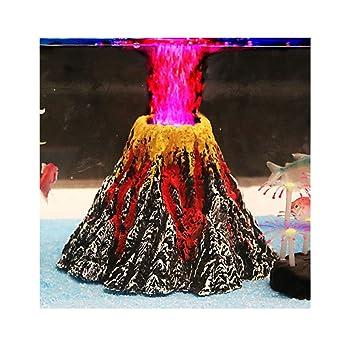 Juego de adornos de piedra de aire para acuario con forma de volcán con foco LED rojo para decorar acuario: Amazon.es: Productos para mascotas