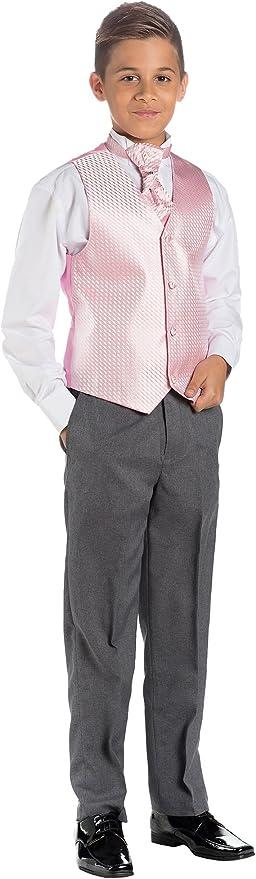 Paisley of London, Niño Rosa Y Gris Traje, Traje Ceremonia Niño, Chaleco De Vestir, 3 meses - 14 años