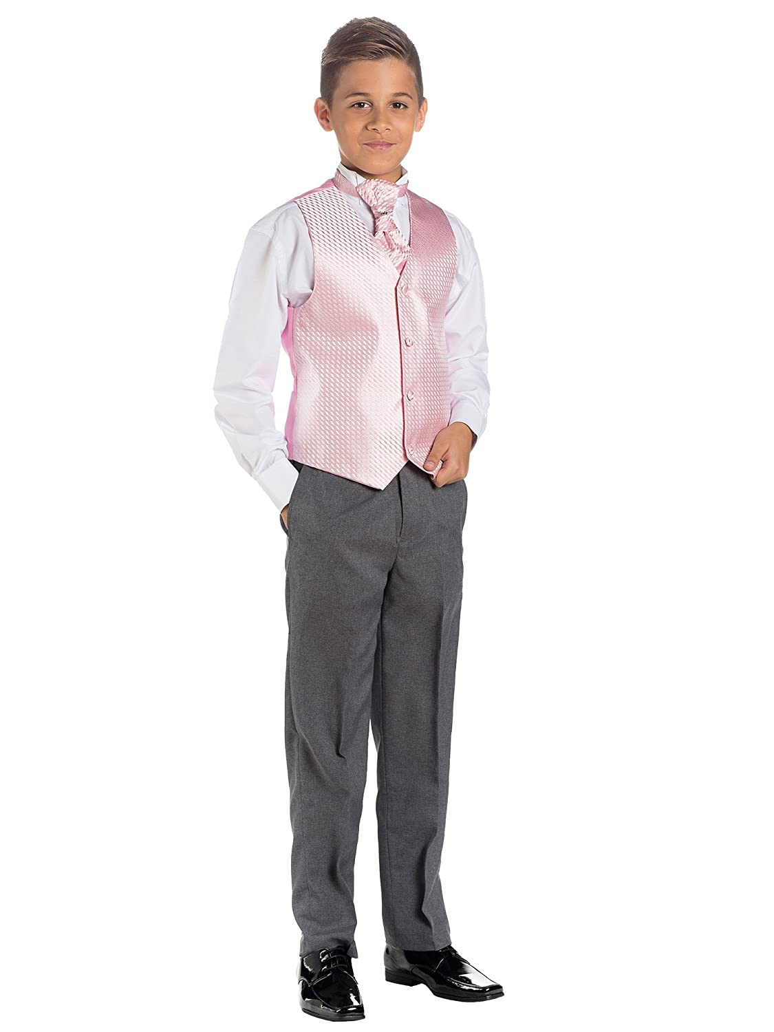 Paisley of London, Boys Pink & Grey Suit, Page Boy Suits, Waistcoat Suit, 3 months - 14 years
